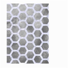 Hexagon2 White Marble & Silver Paint Large Garden Flag (two Sides) by trendistuff