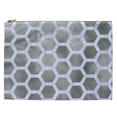 Hexagon2 White Marble & Silver Paint Cosmetic Bag (xxl)  by trendistuff