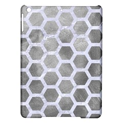 Hexagon2 White Marble & Silver Paint Ipad Air Hardshell Cases by trendistuff