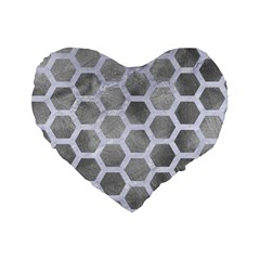 Hexagon2 White Marble & Silver Paint Standard 16  Premium Flano Heart Shape Cushions by trendistuff