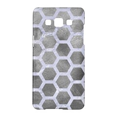 Hexagon2 White Marble & Silver Paint Samsung Galaxy A5 Hardshell Case  by trendistuff