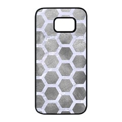 Hexagon2 White Marble & Silver Paint Samsung Galaxy S7 Edge Black Seamless Case by trendistuff