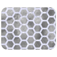 Hexagon2 White Marble & Silver Paint Full Print Lunch Bag by trendistuff