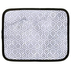 Hexagon1 White Marble & Silver Paint (r) Netbook Case (large) by trendistuff