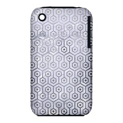 Hexagon1 White Marble & Silver Paint (r) Iphone 3s/3gs by trendistuff