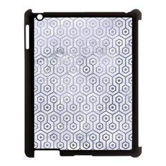 Hexagon1 White Marble & Silver Paint (r) Apple Ipad 3/4 Case (black) by trendistuff