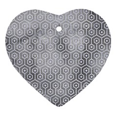 Hexagon1 White Marble & Silver Paint Ornament (heart) by trendistuff