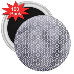 Hexagon1 White Marble & Silver Paint 3  Magnets (100 Pack) by trendistuff