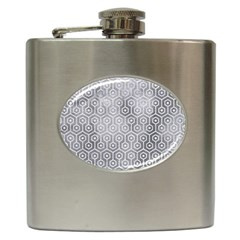 Hexagon1 White Marble & Silver Paint Hip Flask (6 Oz) by trendistuff