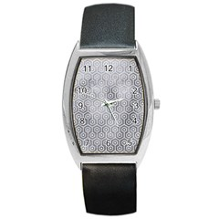 Hexagon1 White Marble & Silver Paint Barrel Style Metal Watch by trendistuff