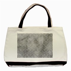 Hexagon1 White Marble & Silver Paint Basic Tote Bag by trendistuff