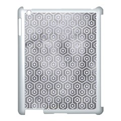 Hexagon1 White Marble & Silver Paint Apple Ipad 3/4 Case (white)