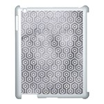 HEXAGON1 WHITE MARBLE & SILVER PAINT Apple iPad 3/4 Case (White) Front