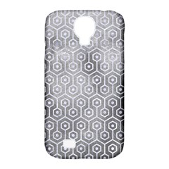 Hexagon1 White Marble & Silver Paint Samsung Galaxy S4 Classic Hardshell Case (pc+silicone) by trendistuff