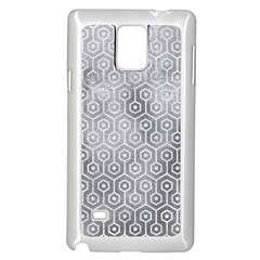 Hexagon1 White Marble & Silver Paint Samsung Galaxy Note 4 Case (white) by trendistuff