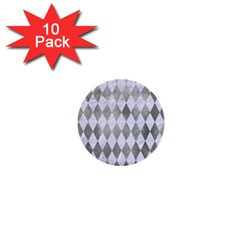 Diamond1 White Marble & Silver Paint 1  Mini Buttons (10 Pack)  by trendistuff