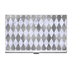 Diamond1 White Marble & Silver Paint Business Card Holders by trendistuff