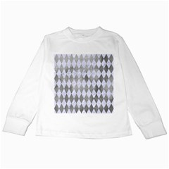 Diamond1 White Marble & Silver Paint Kids Long Sleeve T Shirts