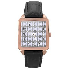 Diamond1 White Marble & Silver Paint Rose Gold Leather Watch