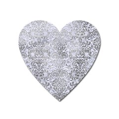Damask2 White Marble & Silver Paint (r) Heart Magnet by trendistuff