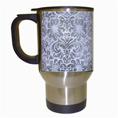 Damask2 White Marble & Silver Paint (r) Travel Mugs (white) by trendistuff