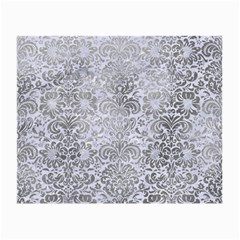 Damask2 White Marble & Silver Paint (r) Small Glasses Cloth by trendistuff