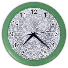 Damask2 White Marble & Silver Paint (r) Color Wall Clocks by trendistuff