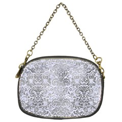 Damask2 White Marble & Silver Paint (r) Chain Purses (two Sides)  by trendistuff