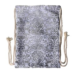 Damask2 White Marble & Silver Paint (r) Drawstring Bag (large) by trendistuff