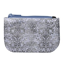 Damask2 White Marble & Silver Paint (r) Large Coin Purse by trendistuff