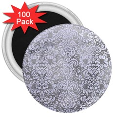 Damask2 White Marble & Silver Paint 3  Magnets (100 Pack) by trendistuff