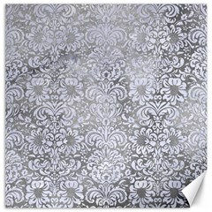 Damask2 White Marble & Silver Paint Canvas 16  X 16   by trendistuff