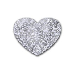 Damask2 White Marble & Silver Paint Rubber Coaster (heart)  by trendistuff