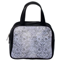 Damask2 White Marble & Silver Paint Classic Handbags (one Side) by trendistuff