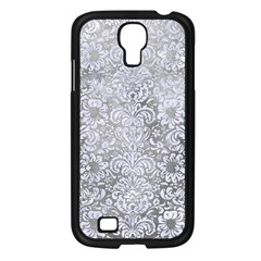 Damask2 White Marble & Silver Paint Samsung Galaxy S4 I9500/ I9505 Case (black) by trendistuff