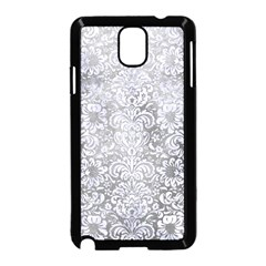Damask2 White Marble & Silver Paint Samsung Galaxy Note 3 Neo Hardshell Case (black) by trendistuff