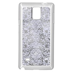Damask2 White Marble & Silver Paint Samsung Galaxy Note 4 Case (white) by trendistuff