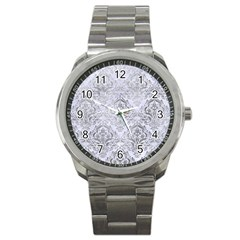Damask1 White Marble & Silver Paint (r) Sport Metal Watch by trendistuff