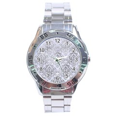 Damask1 White Marble & Silver Paint (r) Stainless Steel Analogue Watch by trendistuff