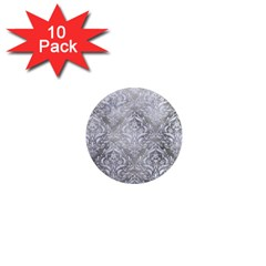 Damask1 White Marble & Silver Paint 1  Mini Magnet (10 Pack)  by trendistuff