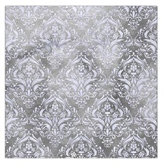 Damask1 White Marble & Silver Paint Large Satin Scarf (square) by trendistuff