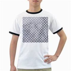 Circles3 White Marble & Silver Paint (r) Ringer T Shirts