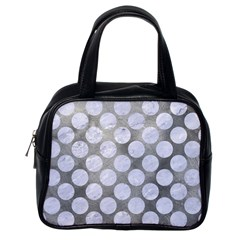 Circles2 White Marble & Silver Paint Classic Handbags (one Side) by trendistuff