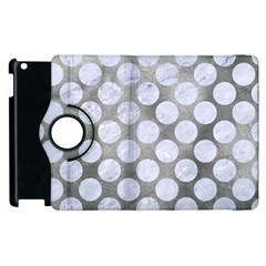Circles2 White Marble & Silver Paint Apple Ipad 2 Flip 360 Case