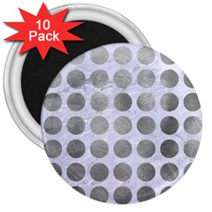 Circles1 White Marble & Silver Paint (r) 3  Magnets (10 Pack)  by trendistuff