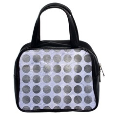 Circles1 White Marble & Silver Paint (r) Classic Handbags (2 Sides) by trendistuff