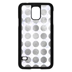 Circles1 White Marble & Silver Paint (r) Samsung Galaxy S5 Case (black) by trendistuff