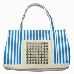 Circles1 White Marble & Silver Paint Striped Blue Tote Bag by trendistuff