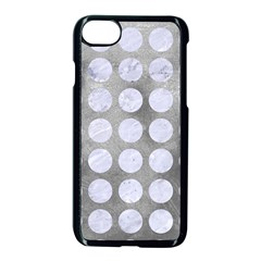 Circles1 White Marble & Silver Paint Apple Iphone 7 Seamless Case (black) by trendistuff