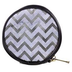 Chevron9 White Marble & Silver Paint (r) Mini Makeup Bags by trendistuff